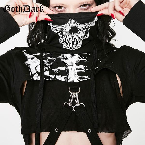 Gothic Skull Print Skelett Hoodies Langarm T-Shirt Turtlenek Punk Style Hip Frauen Chain Crop Top Coole Streetwear Schwarz Tees J190613