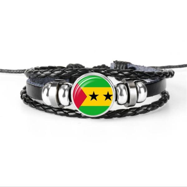Cristal de plata del cabujón Santo Tomé y pulseras mundo de la bandera nacional de Principe de cuero de la cuerda hombres de las mujeres BOHO de Charm Negro joyería moldeada
