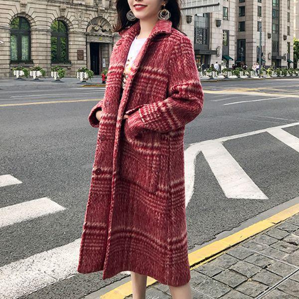 winter women woolen long coat red plaid luxury loose lapel overcoat thick warm plus size female coats spring autumn