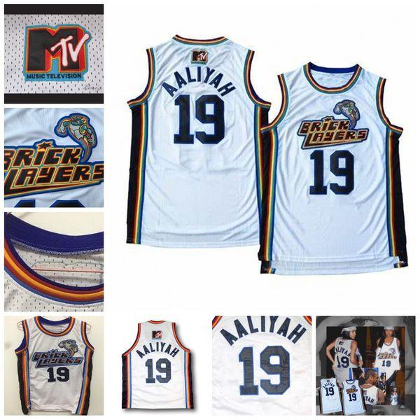 1ed0ceb5e72 19 Aaliyah Bricklayers Movie Jersey 1996 MTV Rock N Jock 100% Stitched  White Basketball Jerseys