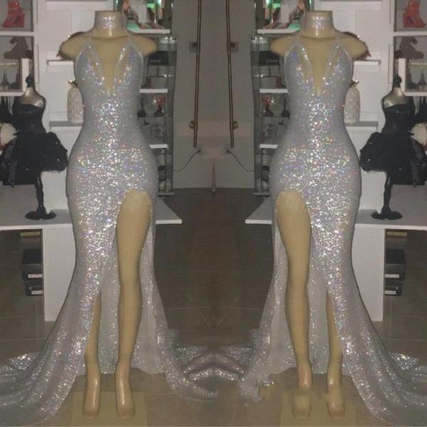 Imagem Real de Prata Sexy Com Decote Em V Sem Mangas 2019 Vestidos de Baile Halter Backless Sereia Plus Size Vestidos de Noite Com Dividir BC0633