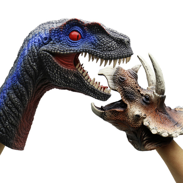 Free shipping 2pcs Velociraptor Triceratops realistic dinosaur hand puppet toy for sale