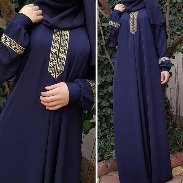 Laamei 2018 Autumn Women Plus Size Long Sleeve Print Abaya Jilbab Muslim Maxi Dresses Casual Kaftan Long Dress Long Robes Tunics S19801