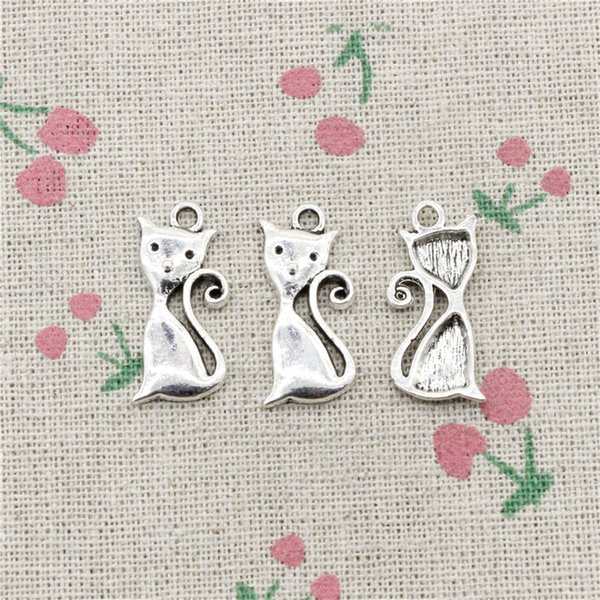 97pcs Charms cat 25*12mm Tibetan Silver Vintage Pendants For Jewelry Making DIY Bracelet Necklace