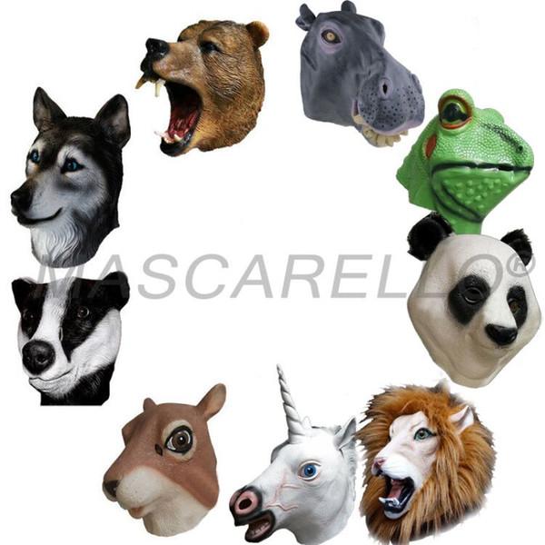 Máscara de goma animal Máscara de látex espeluznante León Panda Lobo Unicornio Perro Máscara animal Fiesta Halloween Mascarada divertido