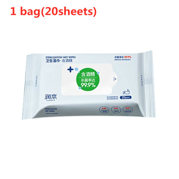 top popular 20Pcs Box Hand Moist Antibacterial alcohol Wet Wipes Natural Plant Extract Non-Irritating Antiseptic Pads Sterilization Disinfecting Tis 2021
