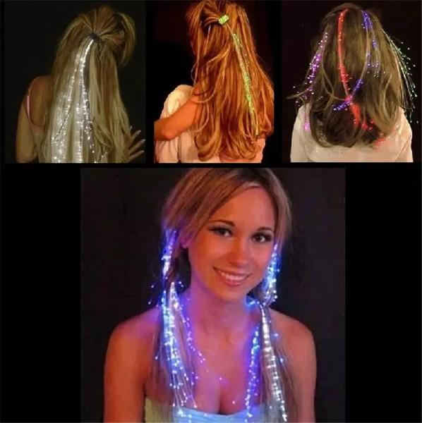 Luminous Light Up LED Haarverlängerung Flash Braid Party Haar Glow von Glasfaser Für Party Weihnachten Halloween Nachtlichter Dekoration L
