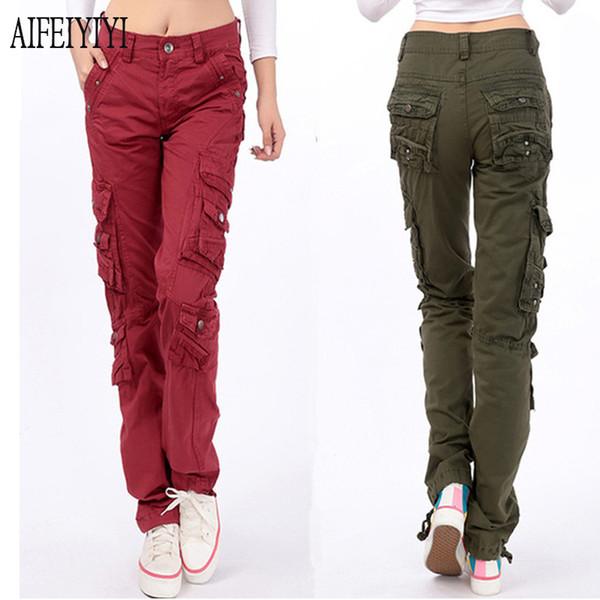 Denim Pantalon Femmes 2019 Printemps Hommes / Femmes Armée Rouge Jeans Baggy Baggy multi-poches Cargo Pantalon droit droit Pantalon militaire