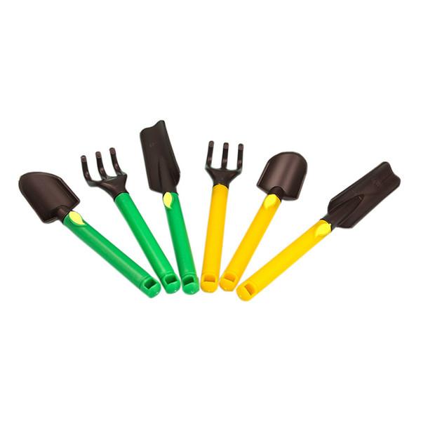 3pcs/set Mini Portable Shovel Rake Gardening Bonsai Tool Plastic Handle Metal Head Shovel Flowers Potted Plants Watering Kettle