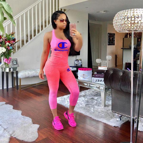 10 couleur Gradient Couleur Champions Imprimer Survêtement Femmes 2 Pièce Ensemble Outfit Sans Manches Débardeur Gilet + Collants Leggings Pantalon 7021