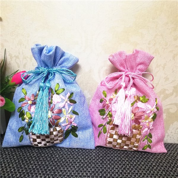 Hand Ribbon Embroidery Large Christmas Burlap Bags Gift Pouch Wedding Party Favor Bags Drawstring Bunk Packaging Bags 10pcs/lot