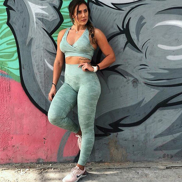 best selling 2019 Women Sexy 2 piece Yoga Set Seamless Camouflage Color Workwout Tank Top High Support Fitness bra Skinny Long Leggings
