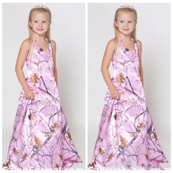 Full Pink Camo Long A Line Flower Girl Dresses Custom 2020 Top Sale Cheap Camouflage Real Tree Camo Kids Girls Party Gowns Country Side
