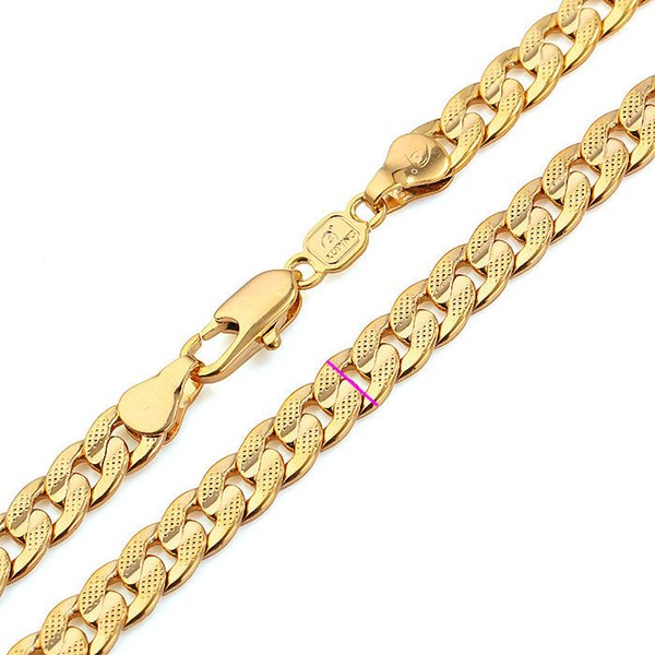 Classics Men Solid Gold FINISH Cuban Link Chain Real Plated Curb Necklace