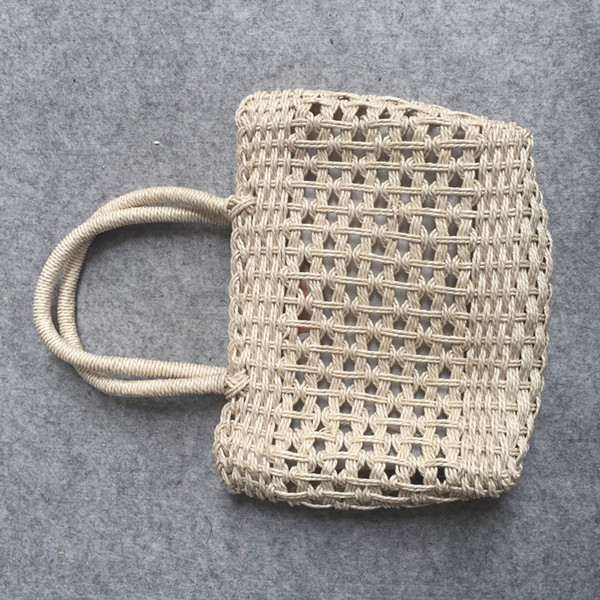 Manufacturer Direct Copper Button Pure Hand-made Cotton Wire Bag Hand-laced Mesh Hollow-out Unlined Straw Bag Leisure Knitting Bag