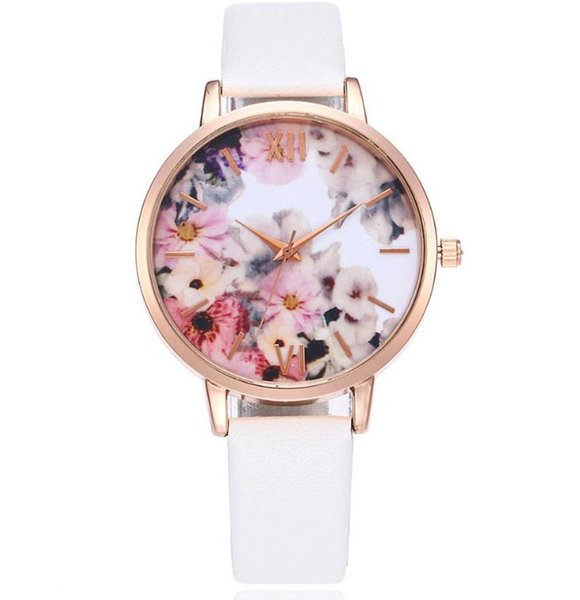 Korean version fashion new product leisure fashion hot selling ultra-thin ribbon PU neutral quartz watch fashion printing pattern female Wat
