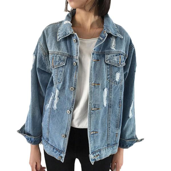 Plus size xxxl solto denim jaquetas mulheres 2019 primavera outono manga longa jean casaco senhora rasgado jaquetas jeans outwear tops das mulheres