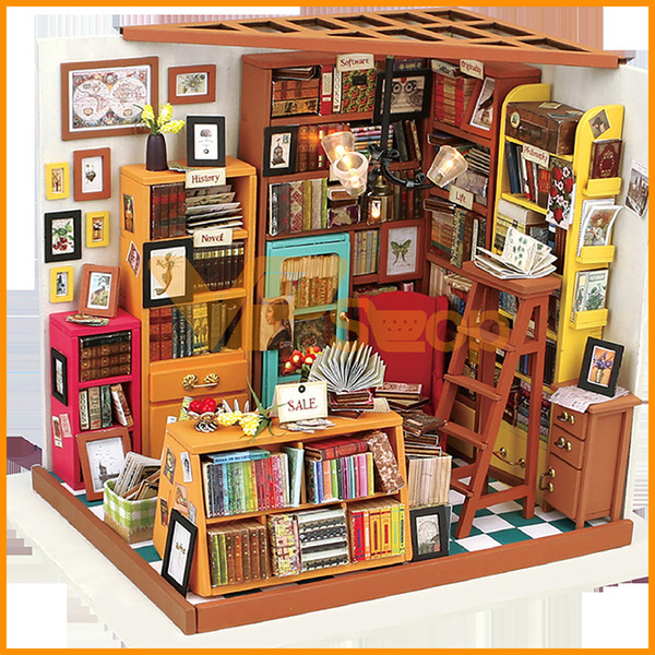 Bebek Çocuklar için Sam DIY Ev Kitabevi Oyuncak Miniatura Ahşap Doll Sanat Evleri Mobilya Dollhouse Mağaza Bulmaca Çalışma Odası Oyuncak