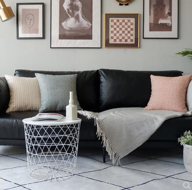Funda de almohada Moderno, minimalista, ligero, de lujo, naranja, modelo, conjunto de cojines, sofá de cuero naranja junto a la cama, funda de cojín