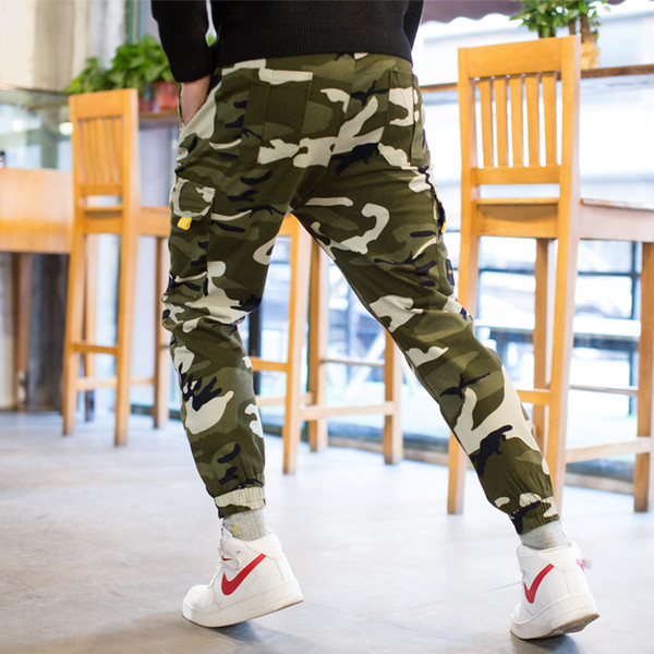 Men Pants Fashion Casual 2019 New Spring Pocket Full Length Drawstring Soft Camo Cargo Pants Cotton Blend Size 29-36