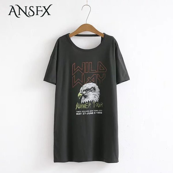 Ansfx Trendy Character Letter Pattern Print O-neck Rear Hollow Out Backless Short Sleeve Fashion Casual Autumn Women Mini Dress Q190524