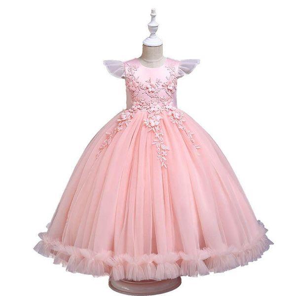 2019 new Children wedding Dresses lace Princess Girls Dresses kids designer clothes girls Formal Dresses long Girls Party Dress A4379
