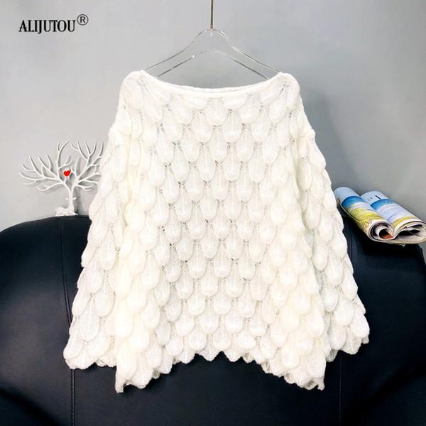 Élégant En Plume Chandail Femmes 2019 Casual Mode Lâche Femmes Chandails Mignon 3D Rose Blanc Jumper Coréen Tricoté Pulls Femme