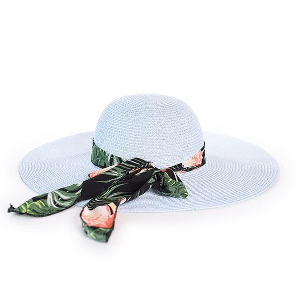 2019 New Chiffon Ribbon big eaves lady straw hat summer getaway shade Seaside beach Hat