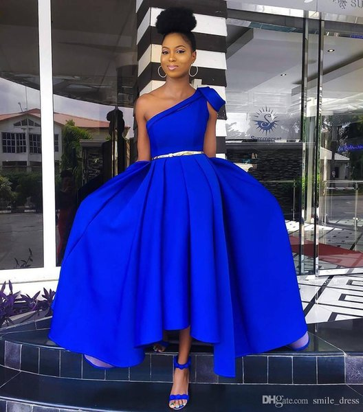 High Low Royal Blue Prom Dresses A Line One Shoulder Satin African Evening Dresses Formal Party Gowns For Black Girl SP386