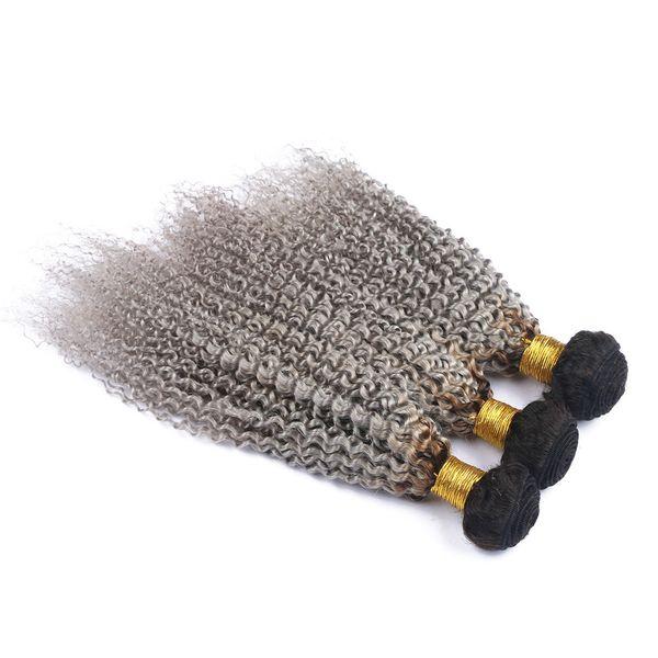 2 Tone 1b Grey Ombre Cabello humano Afro rizado pelo rizado teje raíces oscuras extensiones de pelo gris Virgen humana brasileña paquetes 3pcs / lot