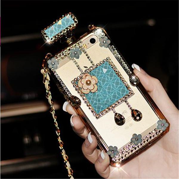For iPhone X XS max XR 7 8 Plus 6 6S plus 5 5S SE Case Luxury Perfume Bottle Silicon Case Rhinestone Diamond Phone Case Chain