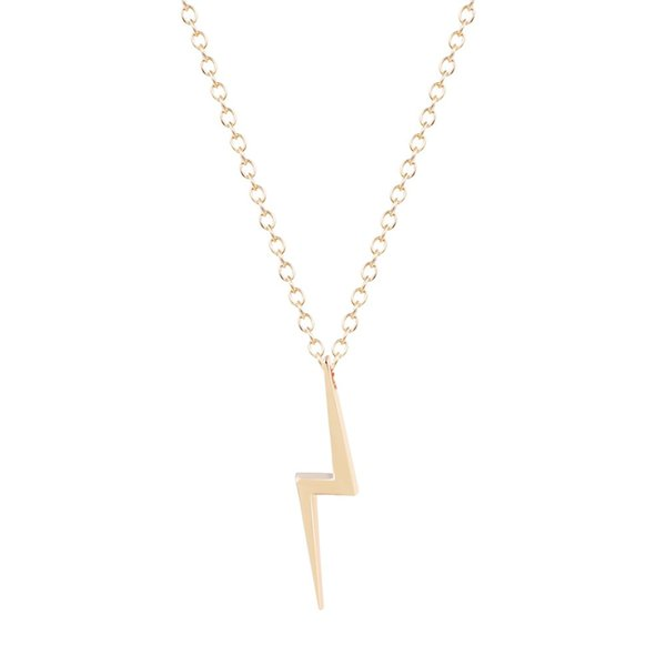 10 Lightning Sign Necklace Cute Golden Film Movie Character Flash Potter Necklace Simple Storm Thunderstorm Sky Nature Necklace Party
