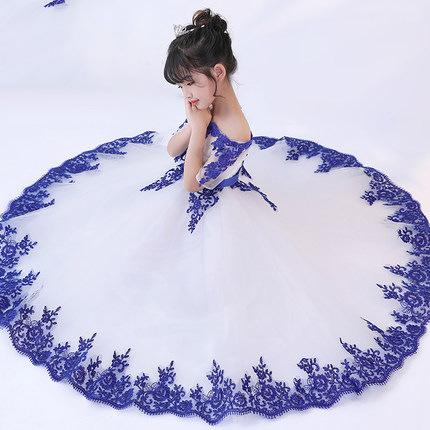 2019 Lovely Lace Appliques Flower Girl Dresses for Weddings Off Shoulder Blue First Holy Communion Dresses Floor Length Custom Made Cheap