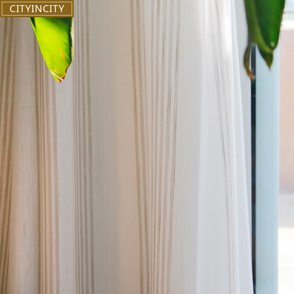 top popular CITYINCITY Voile White Curtain For living room Jacquard Fresh Stripe Sheer Tulle Curtains For Kitchen and bedroom 2021