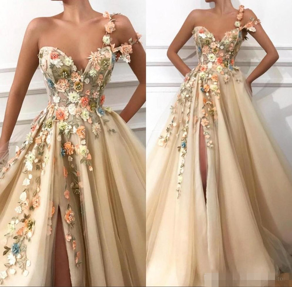 2019 One Shoulder Tulle A Line Long Prom Dresses 3D Floral Lace Applique Beaded Split Floor Length Formal Party Evening Dresses