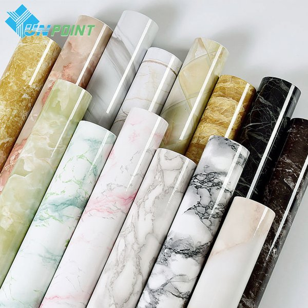 Self Adhesive Marble Vinyl Wallpaper Roll Furniture Decorative Film Waterproof Wall Stickers For Kitchen Backsplash Home Decor Q190531 Room Decor