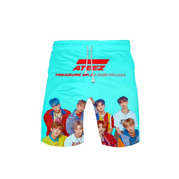 2019 3D ATEEZ K-pop streetwear Logo Casual Spring Summer Board Shorts Men/Women Hip Hop Fashion