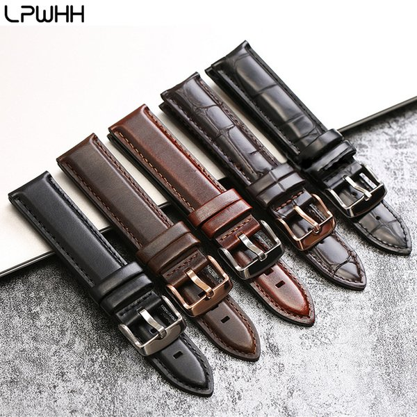LPWHH Crocodile Genuine Leather Watch band Strap 12mm 13mm 14mm 17 18 19 20mm Pin Buckle Soft Alligator Watchband Leather 18mm