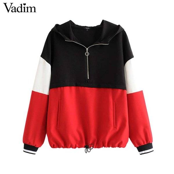 Vadim women oversized color patchwork hooded sweatshirts drawstring pockets long sleeve pullovers female casual tops HA396