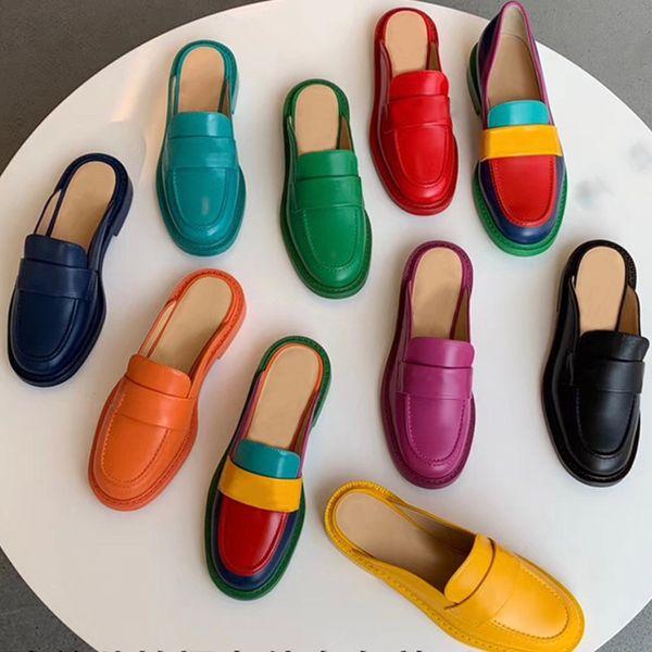 Marka Katır kapsül toplama kadınlar tasarımcı ayakkabı deri katırlar mens düz loafer'lar renkli Hakiki Deri Lüks Rahat ayakkabılar US5-US11