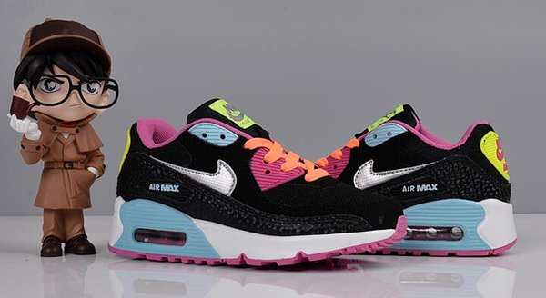 Nike Air Max 90 Youth Running Shoes Kid Sneakers Max 90s Run Sports Shoe Classic 90 Trainer Air Cushion Surface Size 26 35 Trail Running Shoes For