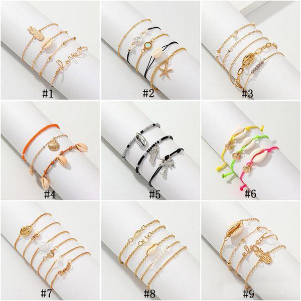 Bohemian Sea Shell Bracelets Set For Women Pineapple Pearl starfish Charm String Rope chains Female Boho Hawaiian Beach Jewelry Gift