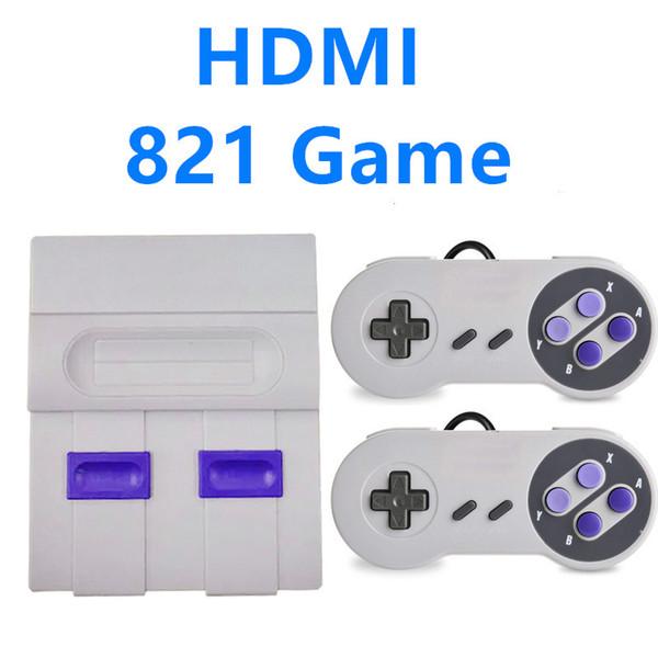 super mini console de jeu classique SN-02 HDMI Out TV pouvant stocker 821 jeux vidéo de poche pour consoles de jeu Dual pad de jeu