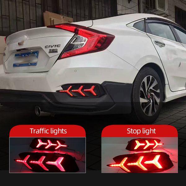 best selling 1Pair Led Reflector rear driving lights Taillight turn signal For Honda Civic 2016 2017 2018 Led Brake Lights rear bumper lamp