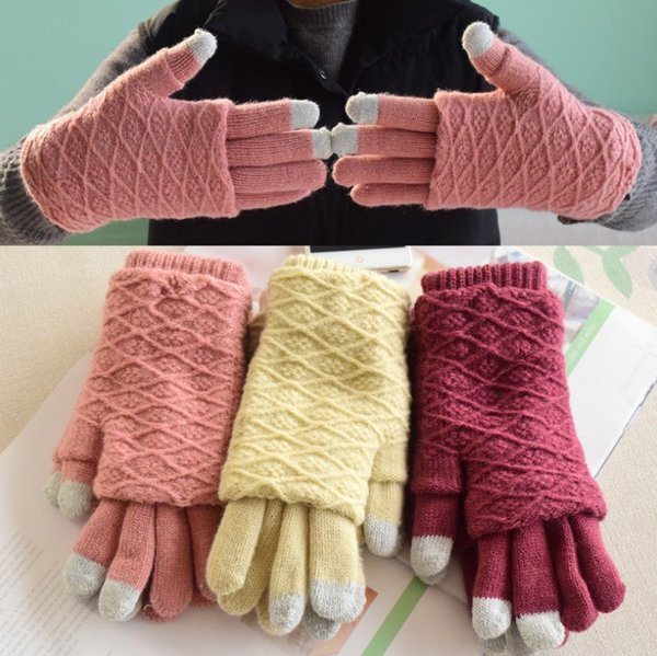 New Type Fashion Women Knitted Gloves Fingers Screen Touch Glove Warm Gloves Winter Gloves Function Using