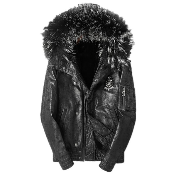 Genuine Leather Jacket Winter Jacket Men Real Sheepskin Coat for Men Real Raccoon Fur Collar Warm Jackets 4xl Veste Homme MY1712