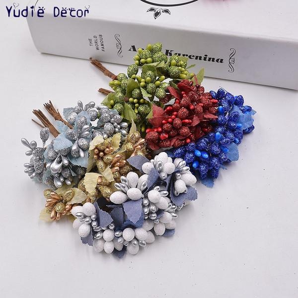 Wholesale 100pcs Artificial bright Stamen Handmade Flowers For Wedding Gift Decoration Pistil Handmade Garland DIY Box Flowers