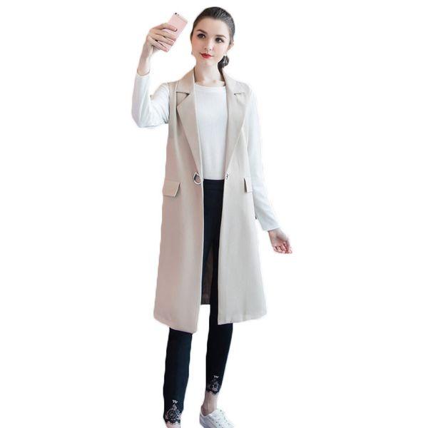 2019 Spring Autumn New Loose Plus Size 5XL Women's Long Sleeveless Suit Jacket Apricot Single Button Female Vest Blazers LQ603