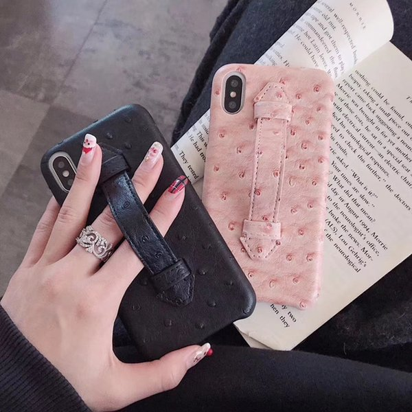 Ostrich Print Leather Back Cover Stretchable Bracelet Rope Holster Phone Shell Kickstand for iPhone XS Max XR X 10 6s 7 8 Plus