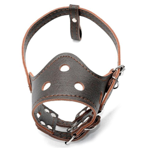 Leather Pet Dog Adjustable prevention bite masks Anti Bark Bite Mesh Soft Mouth Muzzle Grooming Chew Stop For Small Large Dog by DHL